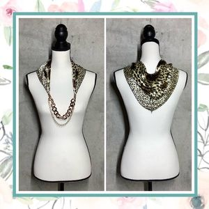 🍒 ANIMAL SCARF GOLD NECKLACE CHAIN LEOPARD SILK